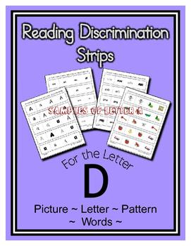 Letter D Reading Discrimination Strips for Fluency and Let