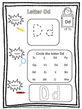 "Letter ""D"" Trace it, Find it, Color it.  Preschool printab"