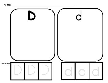 Letter D- upper and lowercase letter sorting actvity.