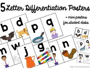 Letter Differentiation & Reversals Posters- b d, m n, g j,