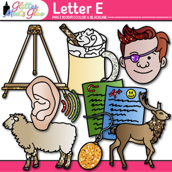 Letter E Alphabet Clip Art {Teach Phonics, Recognition, an