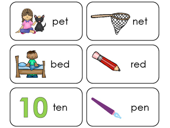 Letter 'E' CVC Picture and Word Printable Flashcards. Pres