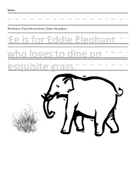Letter E for Elephant Handwriting Practice and Questions!