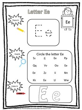 "Letter ""E"" Trace it, Find it, Color it.  Preschool printab"