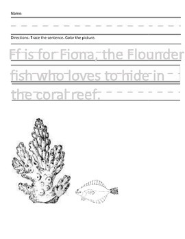 Letter F for Flounder Handwriting Practice and Questions!