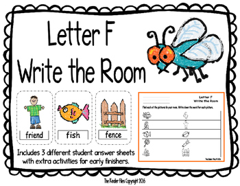 Letter F Write the Room- Includes 3 levels of answer sheets