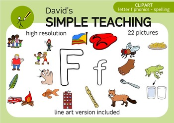 Letter F phonics - spelling clipart with free preview