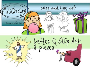 Letter G Clip Art - Color and Line Art 8 pc set