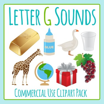 Letter G Sounds Clip Art Pack for Commercial Uses