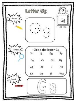 "Letter ""G"" Trace it, Find it, Color it.  Preschool printab"