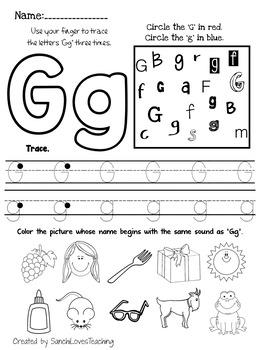 Letter G Worksheet