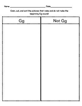 Letter Gg Beginning Sound Sort/Phonemic Awareness