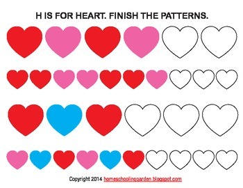 Letter H Heart pattern, Valentine's Day Activity