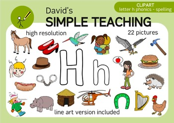 Letter H phonics - spelling clipart with free preview