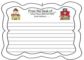 Letter Head Teacher Stationary Notes to Parents