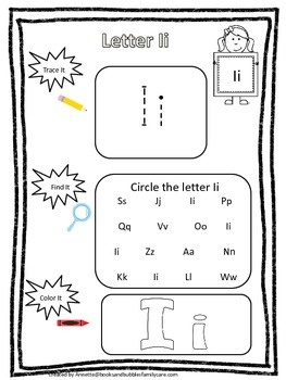 "Letter ""I"" Trace it, Find it, Color it.  Preschool printab"