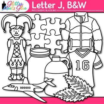 Letter J Alphabet Clip Art Line Art- Letter Recognition, I