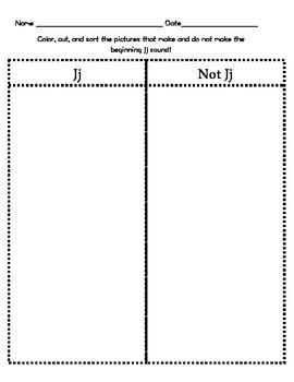 Letter Jj Beginning Sound Sort/Phonemic Awareness
