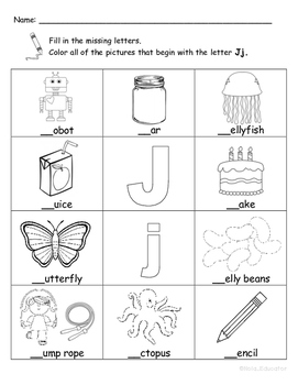 Letter Jj Words Coloring Worksheet