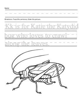 Letter K for Katydid Handwriting Practice and Questions!