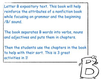 Letter B - Non Fiction book. Noun, Verb and Adjective sort