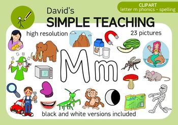 Letter M phonics - spelling clipart with free preview