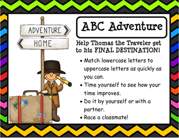 Letter Match Game:  Help Thomas the Traveler Reach His Fin