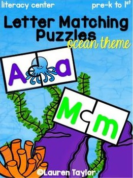 Letter Matching Puzzles- Ocean Theme
