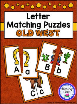 Letter Matching Puzzles - Old West {Uppercase and Lowercas
