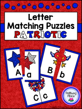 Letter Matching Puzzles - Patriotic {Uppercase and Lowerca