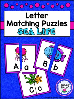 Letter Matching Puzzles - Sea Life {Uppercase and Lowercas