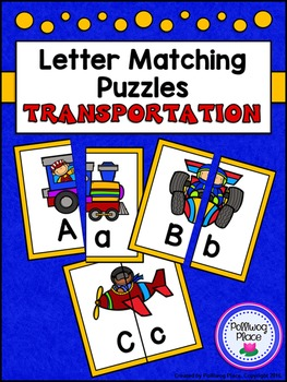 Letter Matching Puzzles - Transportation {Uppercase and Lo