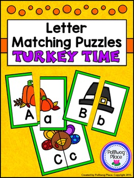 Letter Matching Puzzles - Turkey Time {Uppercase and Lower
