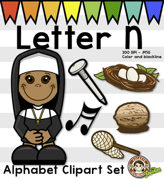 Alphabet Clip Art: Letter N Phonics Clipart Set - Clip Art