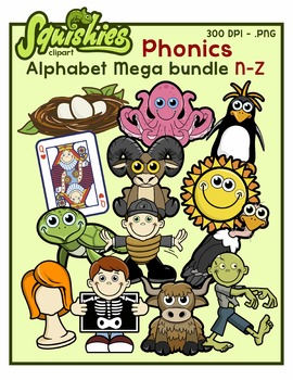 Letter N-Z MEGA Bundle Clip Art - Phonics Clipart Set/Begi