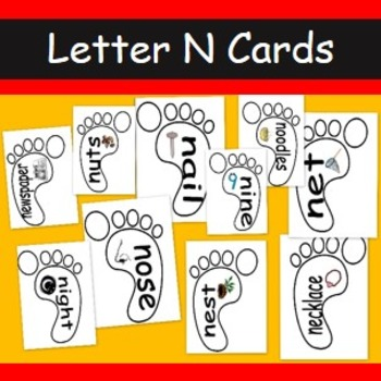 Letter N cards- 10 A4 cards with words and pictures