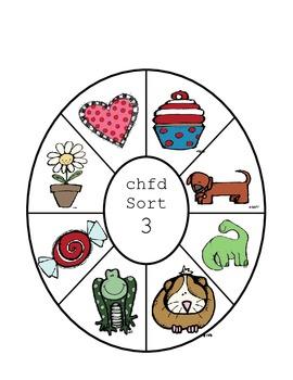 Letter Name Wheel Sort 3 C, H, F, D
