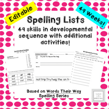 Developmental Spelling List Pack- Letter Name for Words Their Way