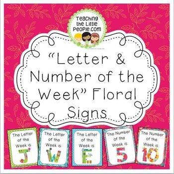 Letter & Number of the Week Signs, Floral Design