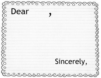 Letter Postcard Writing Template