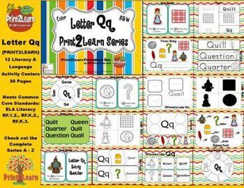 Letter Qq Language & Literacy Activity Center {COMMON CORE