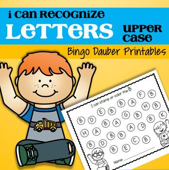 Letter Recognition Upper Case A-Z Bingo Daubers Preschool