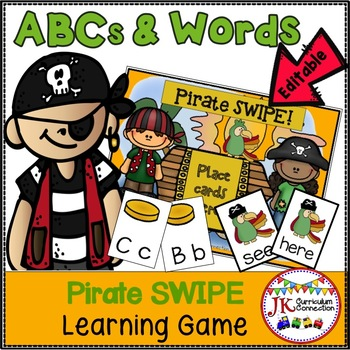 Letter Recognition & Sight Word Game SWIPE - Pirate Theme
