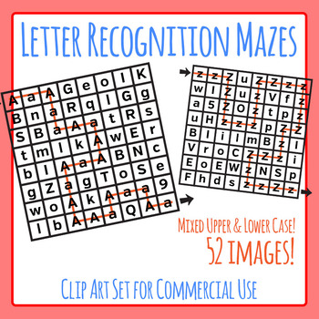 Letter Recognition Mazes :Mixed Case: Learn the Letters of