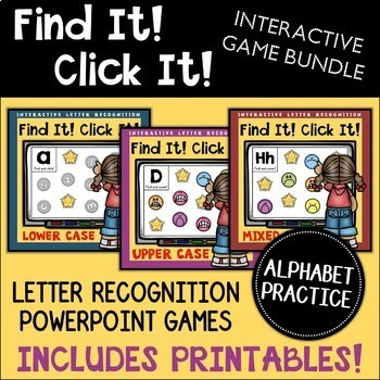 Letter Recognition Powerpoint Game Bundle (Lower Mixed Upp
