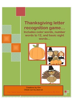 Letter Recognition Thanksgiving Game