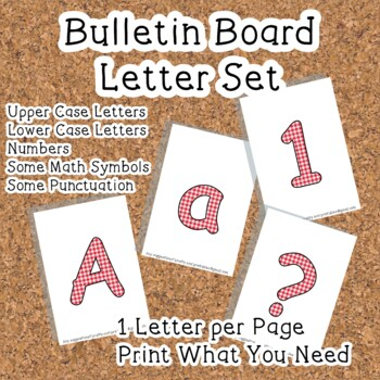 Printable display bulletin letters numbers and more: Red Gingham