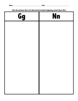 Letter Sort (Gg and Nn) Phonemic Awareness/Beginning Sounds