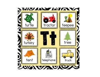 Letter T Beginning Sounds Say It & Clip It Card