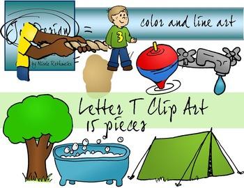Letter T Clip Art - Color and Line Art 15 pc set